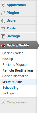 backupbuddy admin menu